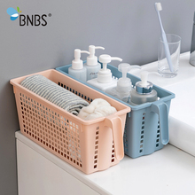 Buy BNBS Kitchen Storage Makeup Basket Bathroom Organizer Desktop Sundries Basket For Makeup Plastic With Handle Storage Basket Box directly from merchant!