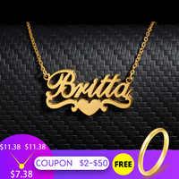Collar de nombre personalizado para mujer personalizado oro corazón cinta placa de identificación collar Acero inoxidable cadena gargantilla BFF joyería regalo