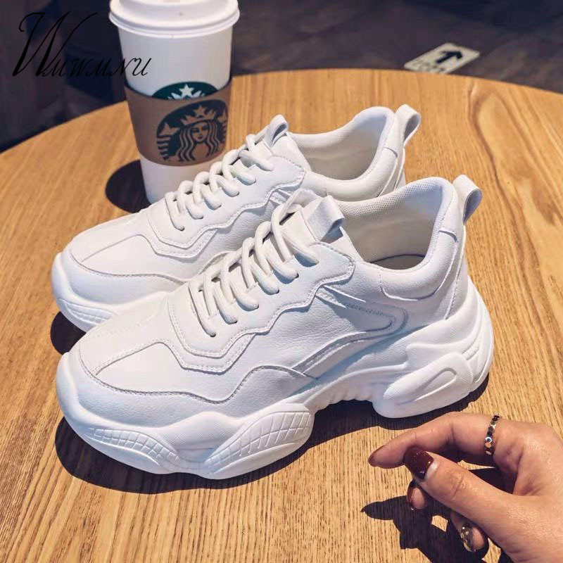 Casual Platform Lace Up Chunky White Sneakers Women Spring Fashion Flat Leater Running Shoes Solid Color Walking Zapatos Autumn