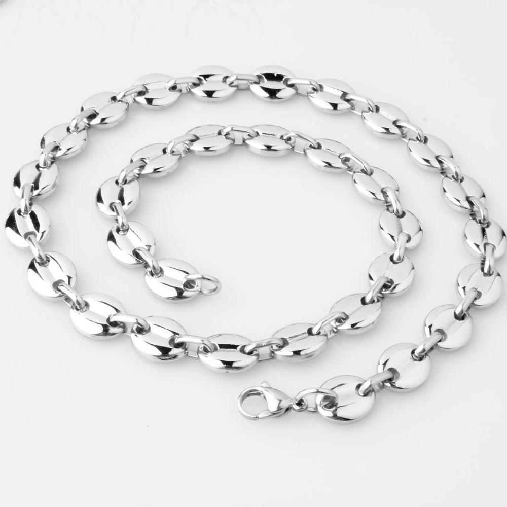 High Quality 316L Stainless Steel 7/9/11mm Silver Coffee Beans Link Chain Jewelry Necklace Or Bracelet For Men Women 7-40inch