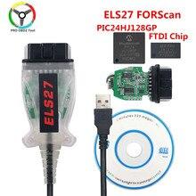 Frete grátis els27 forscan obd2 scanner de diagnóstico do carro ferramenta automática cabo verde pcb els27 v2.3.8 ftdi pic18f25k80 multi-idioma