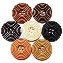 5 шт-40 шт Смешанные 7 цветов 30 мм большие круглые спиральные деревянные пуговицы 4 отверстия для шитья скрапбукинга для одежды деревянная пуговица ручной работы