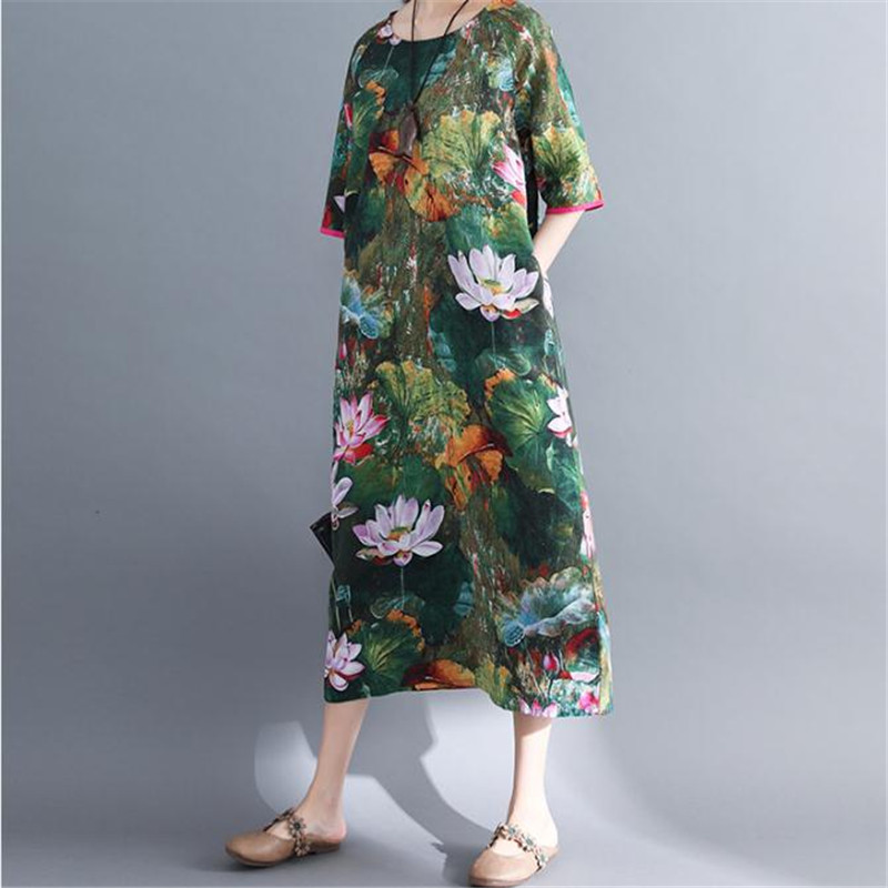 Pockets Dress Linen Lotus Ethnic-Style Cotton Summer Mid-Sleeve O-Neck Loose Casual Large-Size