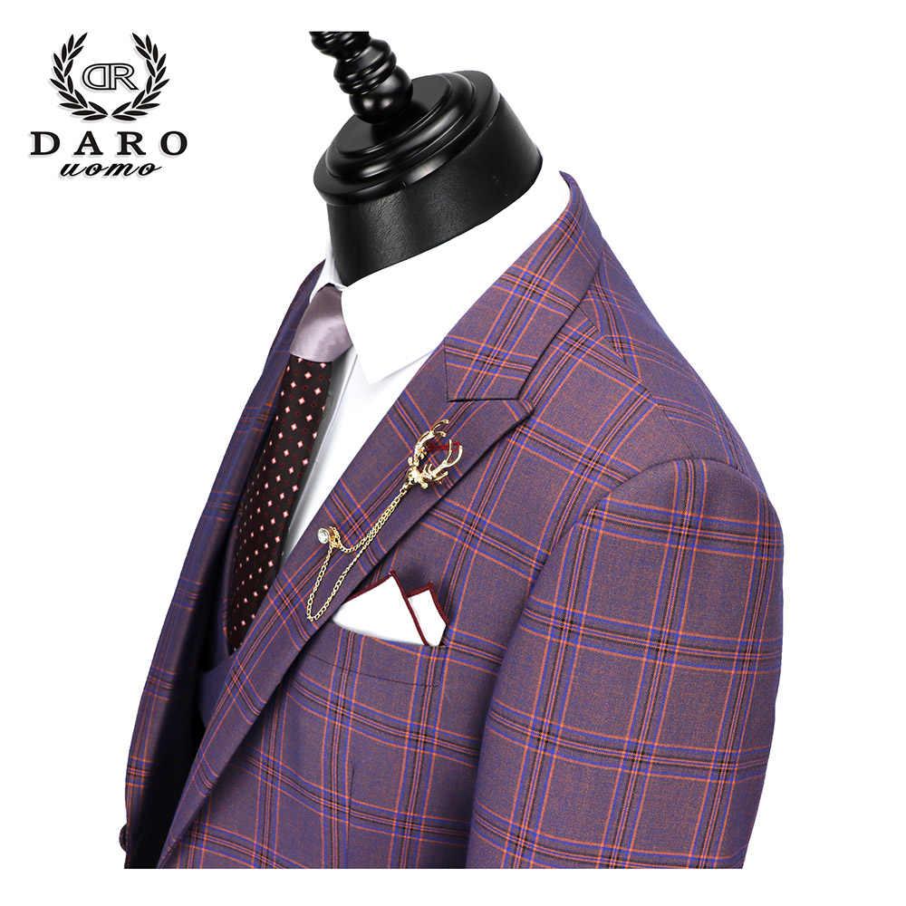 DARO 2019 nouveaux hommes costume 3 pièces mode Plaid costume Slim Fit bleu violet robe de mariée costumes Blazer pantalon et gilet DR8193