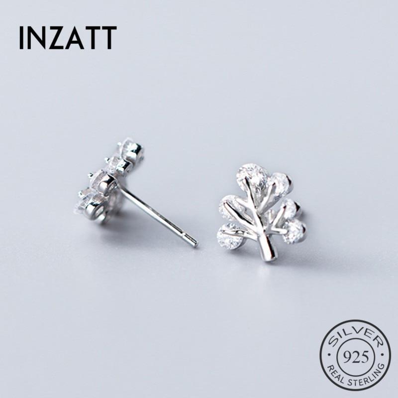 INZATT Real 925 Sterling Silver Zircon Tree Stud Earrings Fashion Women Fine Jewelry Party Cute Minimalist Accessories Gift