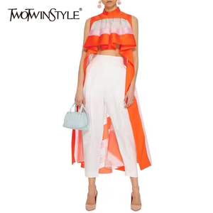 TWOTWINSTYLE Streetwear Striped Asymmetrical Blouse Women Stand Collar Sleeveless Ruffles Female Clothes Summer 2020 Fashion New