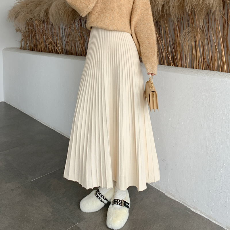 Winter Thickened Rib Knitted Large Swing Maxi Long Skirts Elegant Solid A-line Pleated Ankle Length Knit Skirts Coffree Beige
