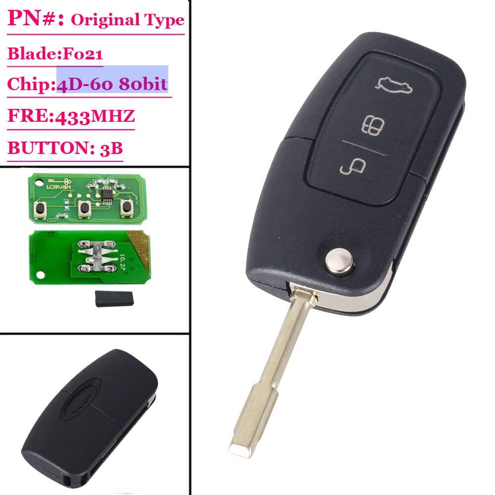 XNRKEY 3 кнопки флип дистанционного ключа с 4D-60 чип для Ford Mondeo