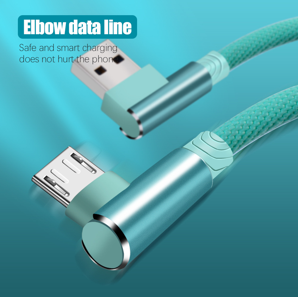 Micro USB Cable For Phone Charging Cord 90 Degree Elbow 2.4A Fast USB Type C Wire For Iphone 7 6S Android Samsung Phone(1)