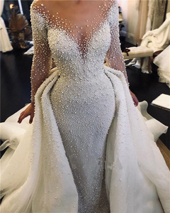 Image 1 - Luxury Full Pearl Beaded Mermaid Wedding Dresses With Detachable Train Vintage Long Sleeves Saudi Arabic Plus Size Bridal Gown