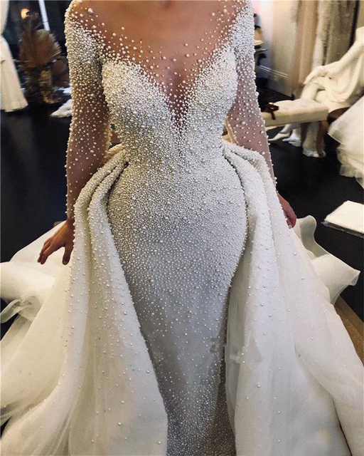 Luxury Full Pearl Beaded Mermaid Wedding Dresses With Detachable Train Vintage Long Sleeves Saudi Arabic Plus Size Bridal Gown