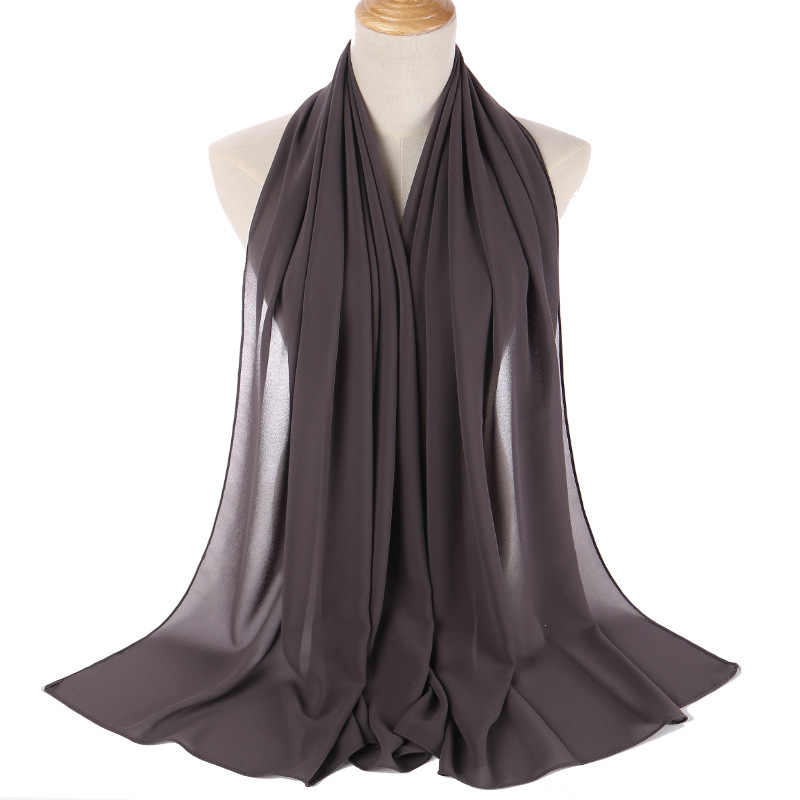 Fionto Wanita Polos Bubble Chiffon Syal Jilbab Wrap Printe Warna Solid Selendang Headband Muslim Jilbab Syal 47 Warna CA4569/ 5