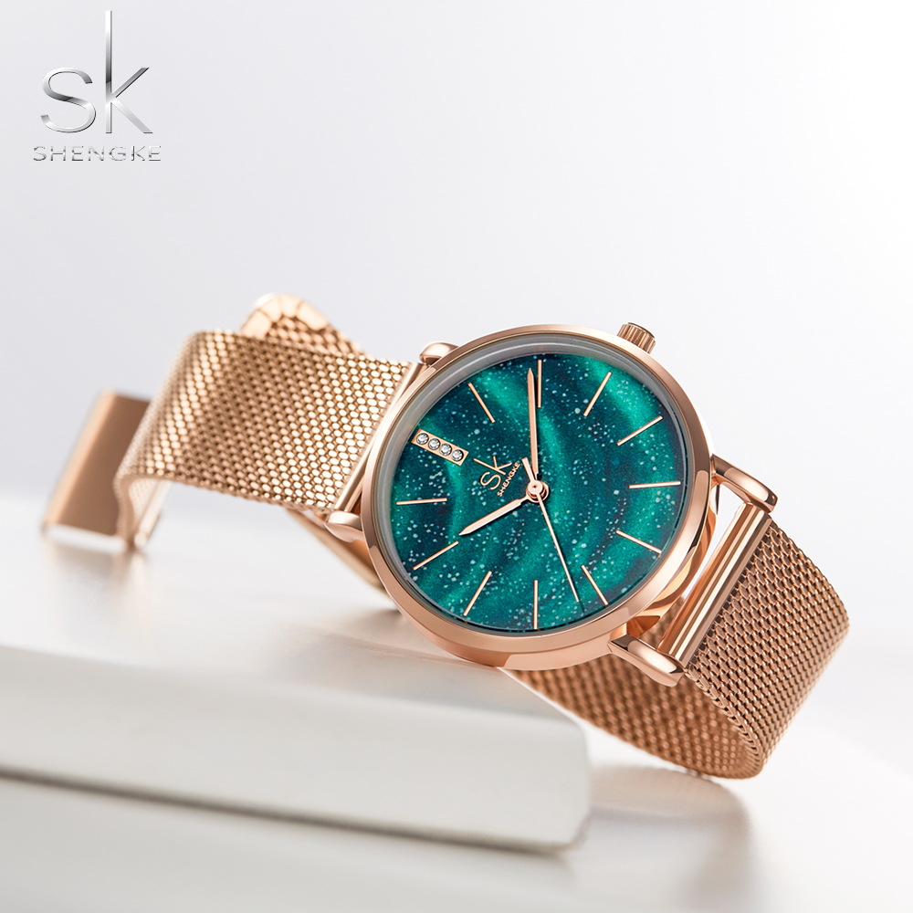 Shengke Women Watches Starry Green Dial Reloj Mujer	Ladies Wristwatch Ultra-thin Stainless Steel Strap Quartz Montre Femme Gift
