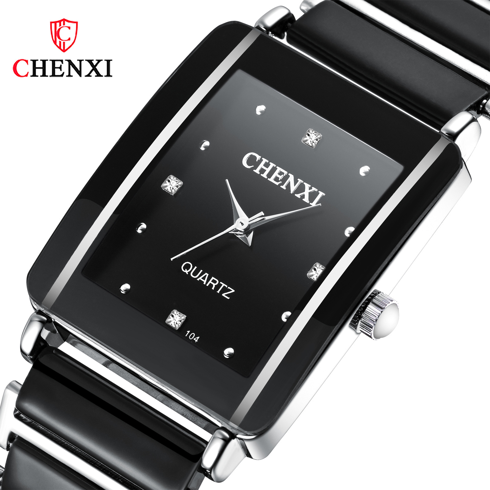 Rectangle Lover's Watch Quartz Fashion Ceramic Couple Watches Ultra-thin Brief Chic Watches With Diamond Wristwatch