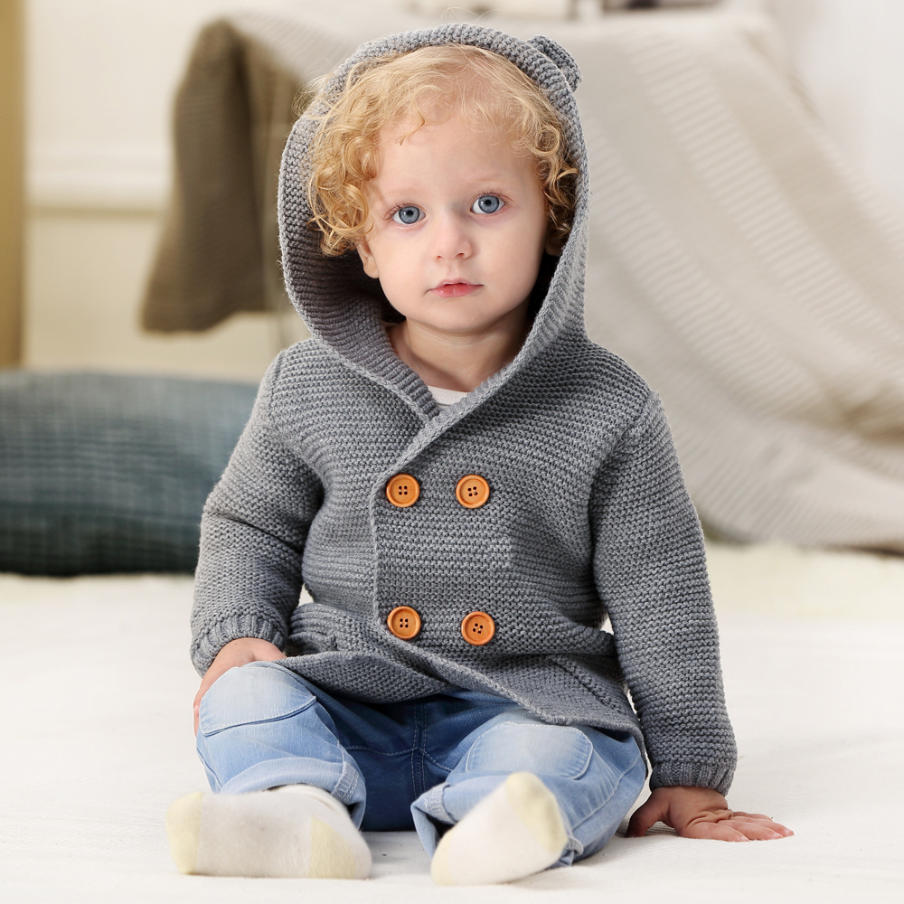 Image 5 - Baby Girl Sweater Winter Cartoon Bear Newborn Boys Cardigan Autumn Grey Toddler Knitted Jackets Long Sleeves Infant Knitwear Top-in Sweaters from Mother & Kids