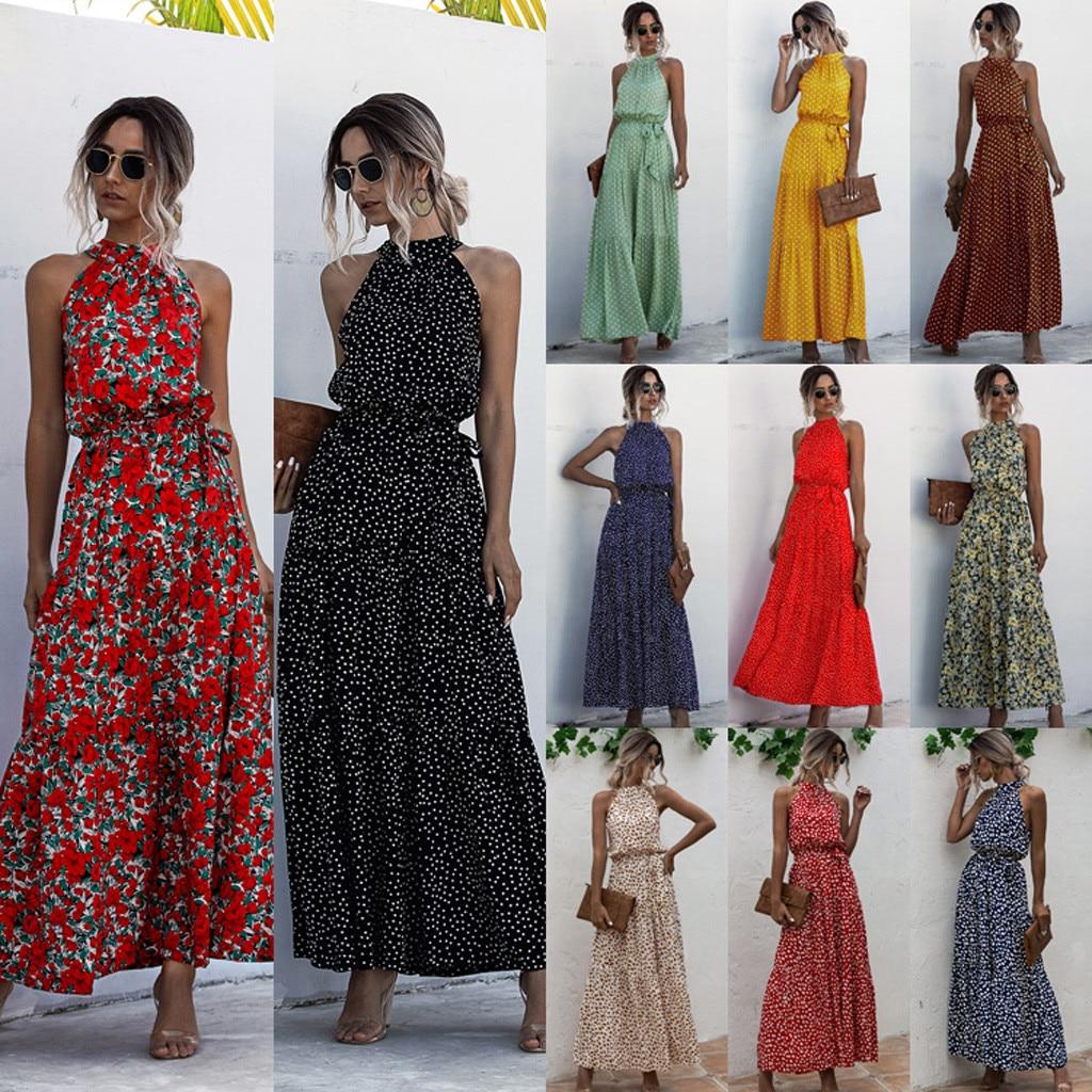 maxi kleider für frauen 2020 sommer dot & floral print boho halter langes  kleid abend party strand kleid sommerkleid vestidos  zc