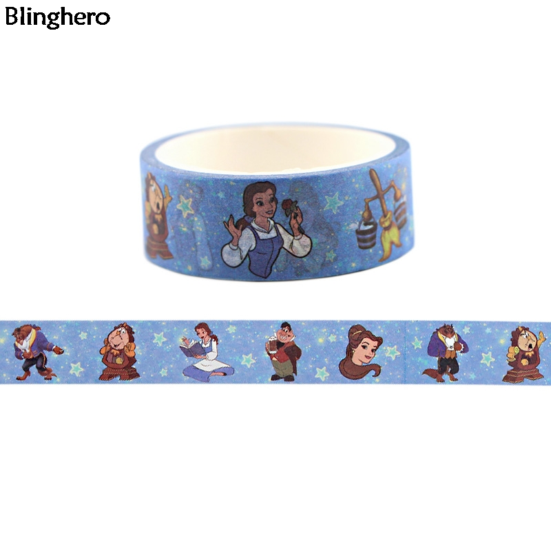 Blinghero Fairy Tale 15mmX5m Cool Print Stationery Tapes Decal Cartoon Washi Tap DIY Masking Tapes Adhesive Tapes BH0141