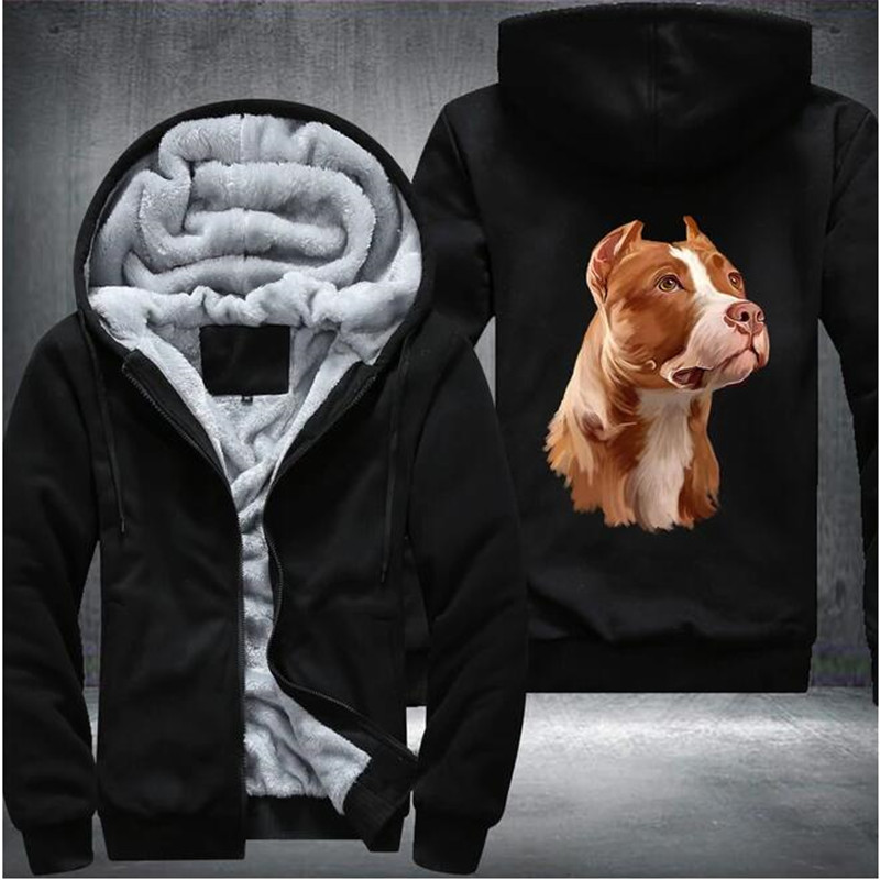 Pitbull Mens Winter Hoodies Male Harajuku 2020 New Casual Sweatshirts Zipper Hooded Warm Sportswear Thicken Warm Outwear