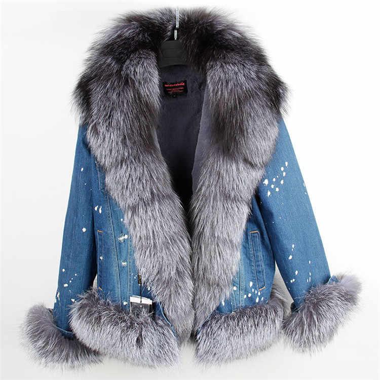 2019 デニムパーカーリアルファーコート冬のジャケットの女性の大リアルフォックスファーの襟ショートパーカーカジュアルファッション生き抜く