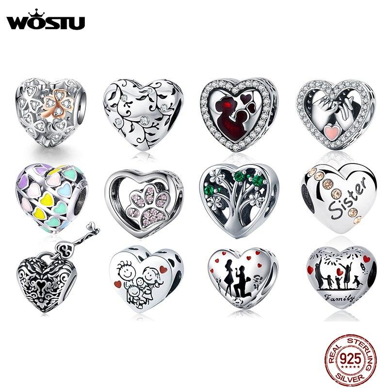 WOSTU 100% Authentic 925 Sterling Silver Heart Shape Charm Mom Beads Fit Original Bracelet Pendant DIY Jewelry Charms Gift beads fit authentic 925 sterling silverbracelet diy - AliExpress