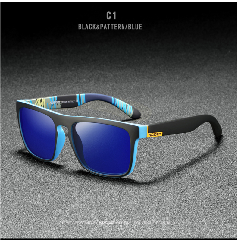 H63e533b32a3147e2b9a5b3e5ff5945ebg - New KDEAM Mirror Polarized Sunglasses Men Ultralight Glasses Frame Square Sport Sun Glasses Male UV400 Travel Goggles CE X8