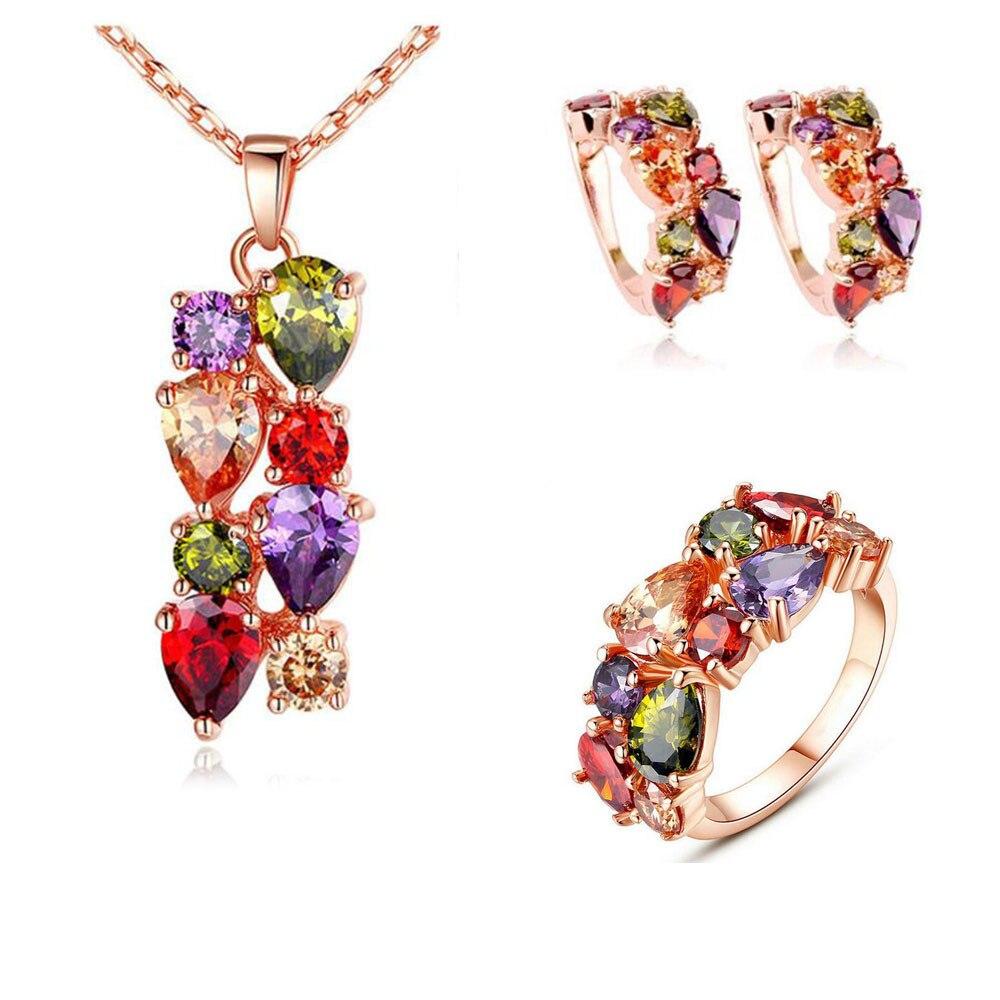 Новое популярное изысканное модное красочное циркониевое кольцо ожерелье серьги женские свадебные украшения подарок на день матери оптов...