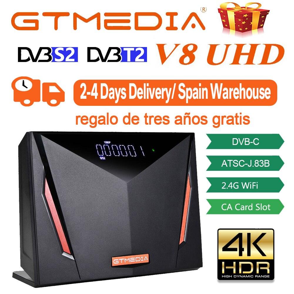 4K со сверхвысоким разрешением Ultra HD, GTmedia V8 UHD-цифра спутниковый телевизионный ресивер Combo DVB S2 T2 кабель ATSC-C/ISDBT H.265 и встроенным модулем Wi-Fi из И...