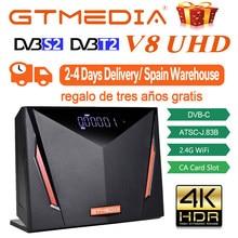 Chaude GTmedia V8 UHD Récepteur Satellite Soutien 4K Ultra HD DVB S2 T2 Câble ATSC-C/ISDBT H.265 Construit en wifi depuis L'espagne entrepôt