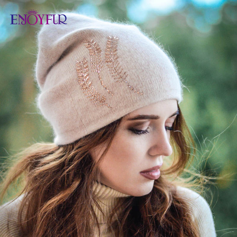 ENJOYFUR Winter Hats For Women Thick Warm Lining Rhinestones Beanies Hat Female Brand Angora Wool Caps For Lady