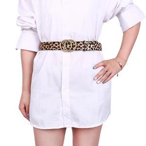 Image 2 - Earnda Womens Fashion Belt Leopard Belts Double Buckle PU Leather Strap For Dress High Waist
