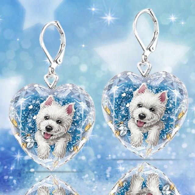 Dog Heart Crystal  Earrings 3