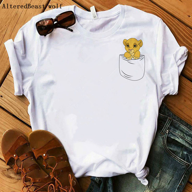 Lion King Small Simba In Pocket Funny T Shirt Femme Hakuna Matata Casual T Shirt Women Casual Short Sleeve Loose Print Vogue Top