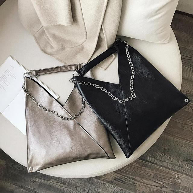 Vintage Leather Shoulder Bags For Women 2019 Chain Designer Lady Crossbody Bag Female Cool High Capacity Solid Color Handbags 4