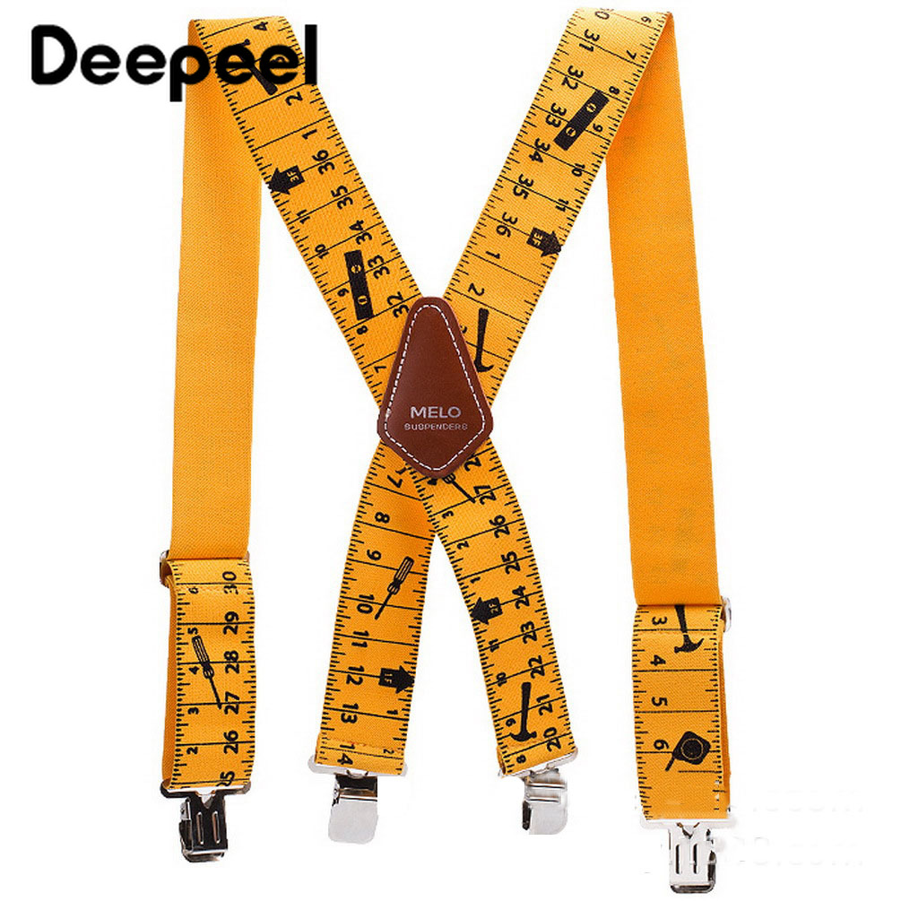 Deepeel 1pc 5*120cm Mens Ruler Pattern Suspenders X-Back Braces 4 Clips Adjustable Elastic Wide Suspenders Youth DecorativeYB606