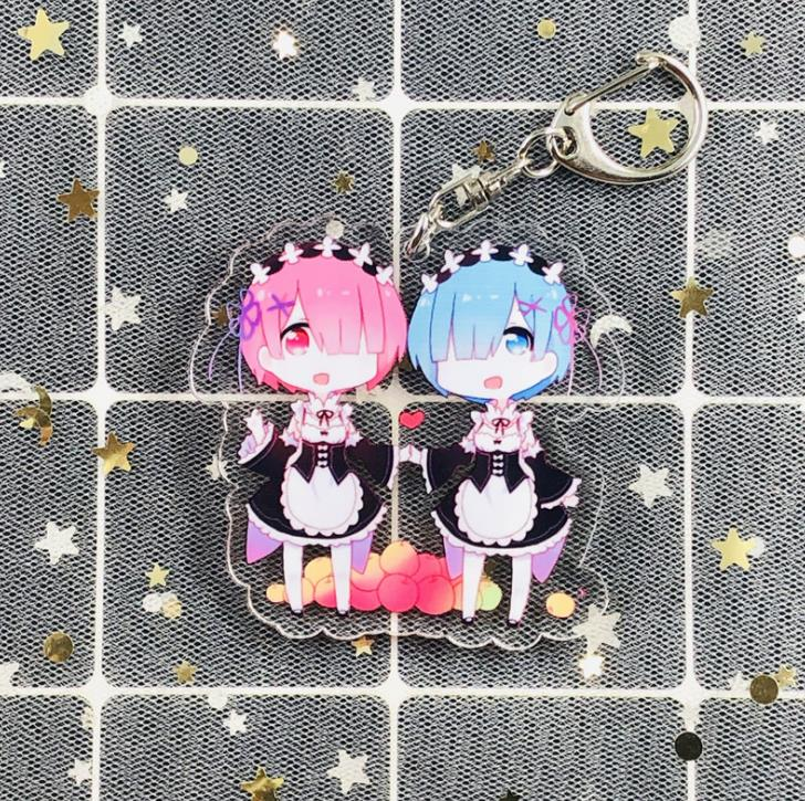 1 Pcs Cute Anime Re:Life In A Different World From Zero Acrylic Keychains Acrylic Pendant Keyring Action Figure Toys Gifts