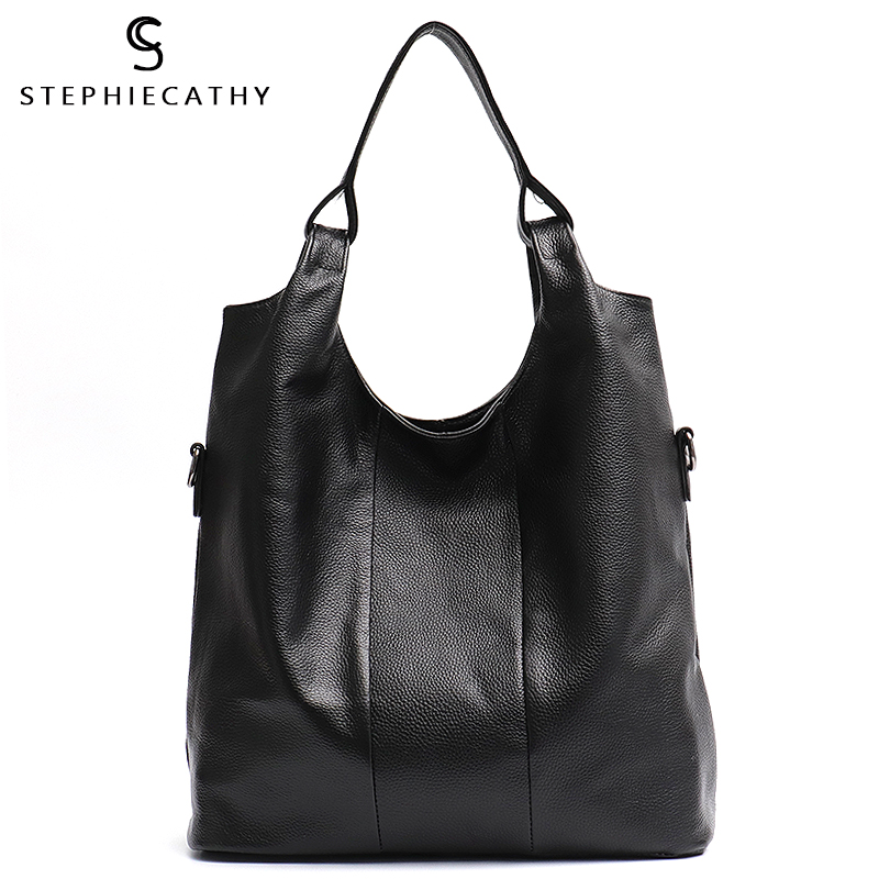 SC Large Casual Genuine Leather Women Hobo Soft Cowhide Ladies Fashion Shoulder Bag Female Brand Street Style Crossbody HandBags