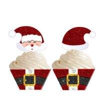 คริสต์มาสซานตาคลอสกระดาษCupcakeชุดWrappers Toppersสำหรับเด็กวันเกิดตกแต่งเค้กถ้วย (12 Wraps + 12 Topper)