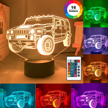 3D LED night light car series 16Color 3D night light remote control table lamp toy gift children home decoration 3d led night light baby light goku anime bedroom decoration night light 16 color change usb table lamp dragon ball gift toy