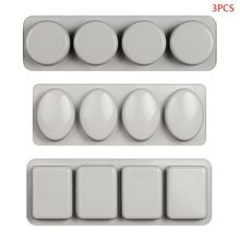 3pcs/set 3D Round Oval Rectangle Silicone Mold for Soap Candle Making Mould Tool for kitchen accessories nicole silicone soap mold rectangle white liner mould for handmade making tool