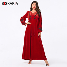 Siskakia Velvet Long Dress Elegant Red Leaves Embroidered Fu