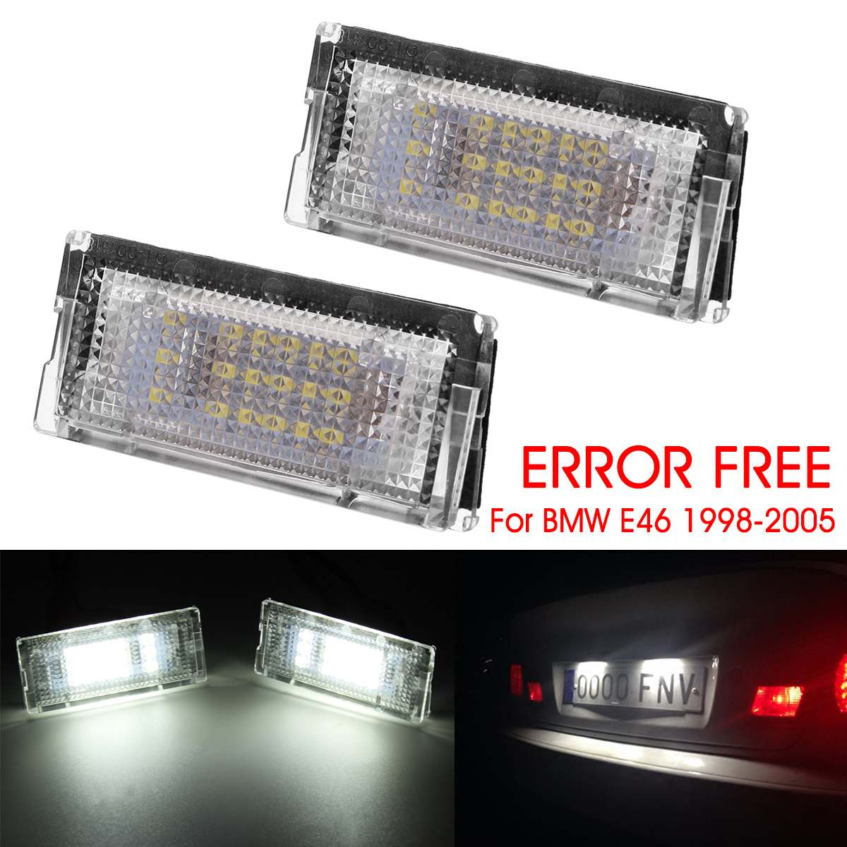 LED License Number Plate Light Lamp Bulb BMW 3 Series E46 2003-06 Canbus White