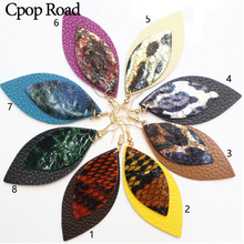 Cpop New Double Layers Genuine Leather Earrings Snake Leopard Fashion Statement Earring Women Jewelry Accessories Gift Wholesale