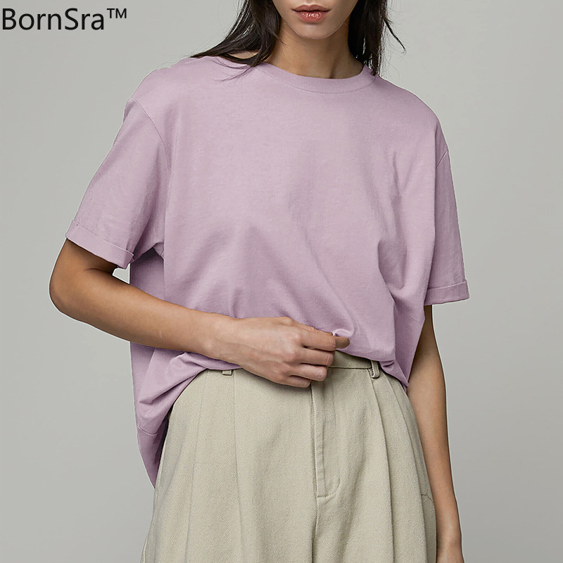 Bornsra Shirt Women's 2021 Summer New Loose and Versatile Basic Cotton Bottoming Men and Women Couple Tops