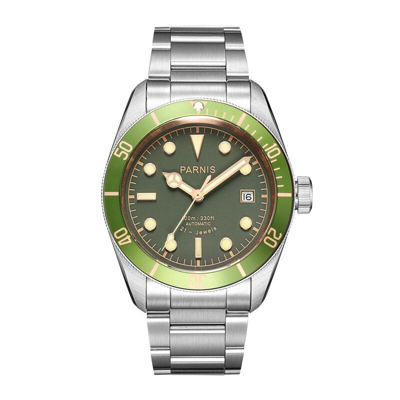 Новые Parnis 41 мм Автоматические Мужские часы с зеленым ободком из нержавеющей стали светящиеся Мужские механические часы Miyota 8215 подарок 2019