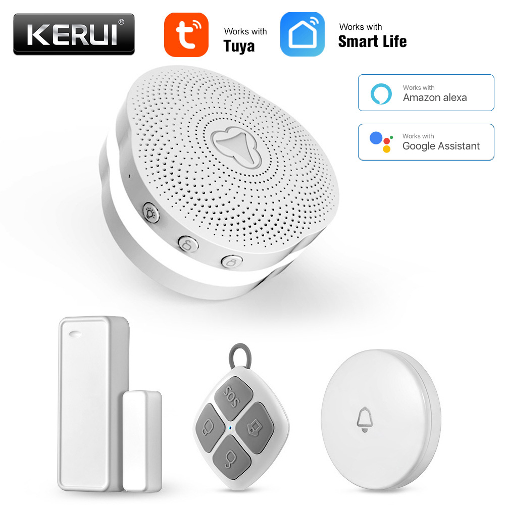 KERUI Tuya WIFI Multifunctional Gateway Security Alarm System Work With Google Assistant/Alexa Intelligent Control Night Light