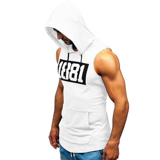 Men Hoodies Tank Top Sleeveless Muscle Gym Sport Slim Vest Bodybuilding Hooded Hip Hop Streetwear Workout Elastic Men Tank Top 4