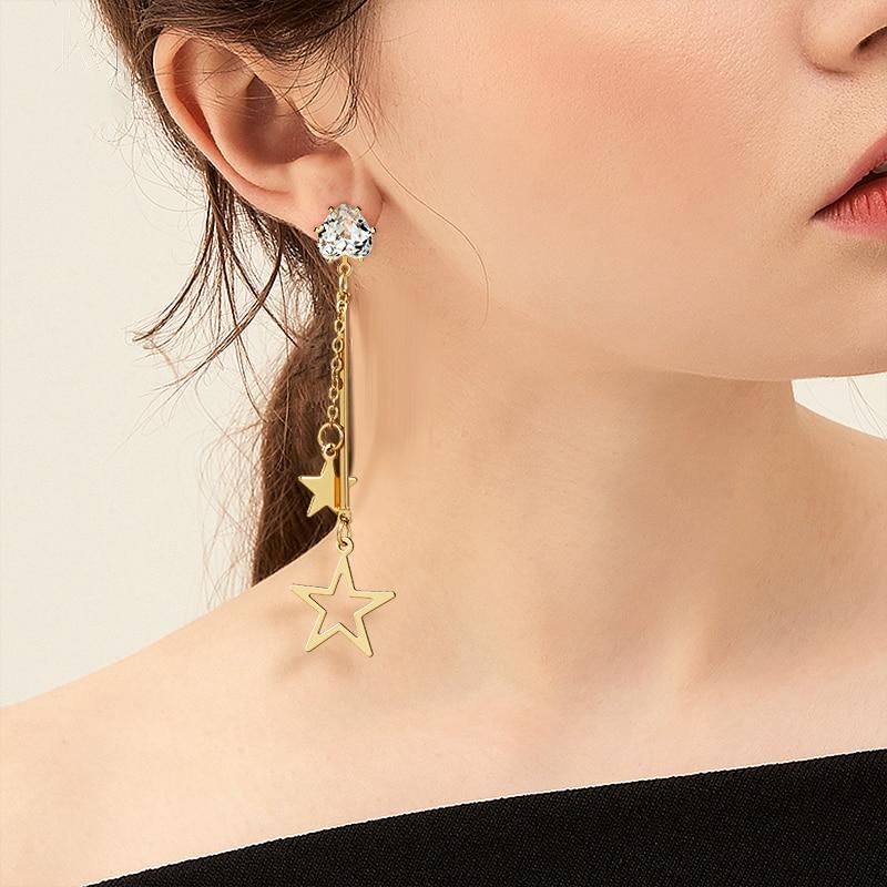 New Vintage Long Hollow out Star Drop Earrings for Women Geometric Korean Gold Dangle Earrings 2020 Fashion Female Jewelry Gift
