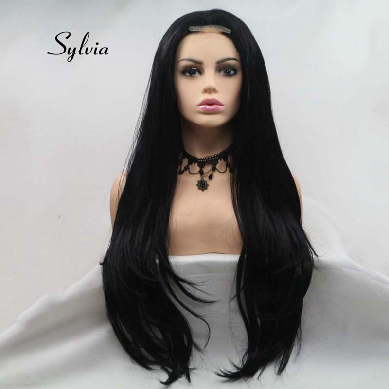 Sylvia U Part Natural Black Synthetic Lace Straight Wigs For Women Hair Heat Resistant Fiber Long Hair Wigs