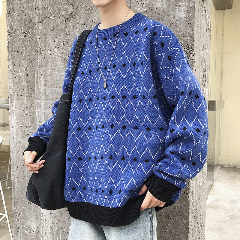 2019 Winter Men's Fashion Trend Coats Round Neck Knitting Woolen Pullover Casual Male Brand Blue/red Color Cashmere Sweater