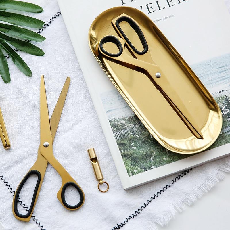 Golden Scissors Household Cutting Tools Office Ribbon-cutting Scissors Asymmetry Fabric Dressmaking Cutter Tailor Shear 1pc